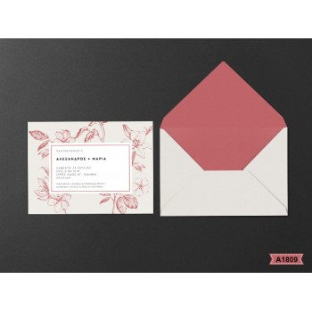 Wedding Invitation Bordeaux Flower