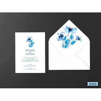 Wedding Invitation Watercolor Blue