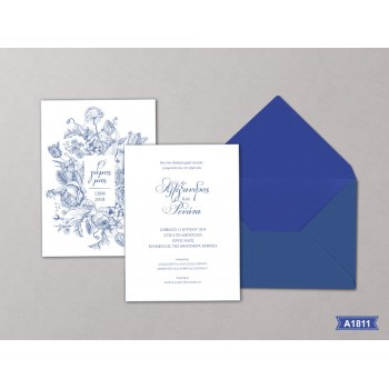 Wedding Invitation Blue Flower