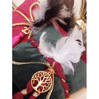 Christmas Velvet Pillow Charm with Feathers