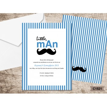 Christening Invitation Little Man-Moustache