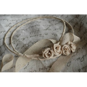 Handmade crownings beige linen flowers