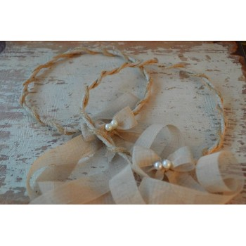 Handmade Crownings Linen, Natural Cord, Pearls