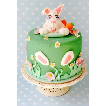 Cake Rabbit Garden with Flowers and Carrots