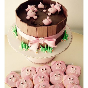 Cake Little Pig in Pits Chocolate