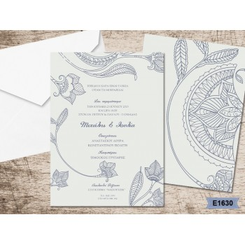 Wedding Invitation Flowers in Tribal design