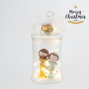 Christmas Glass Jar with Led lights Joseph Mary