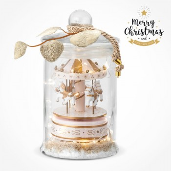 Christmas Glass Jar with Led lights Music Carousel